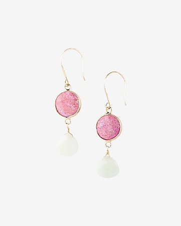 double stone drop earrings