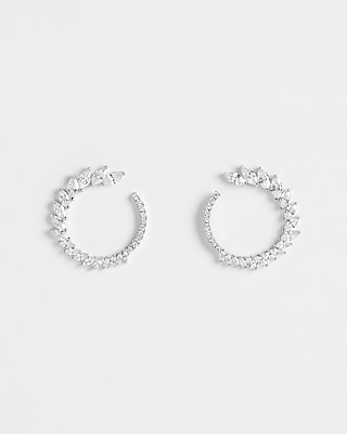 Cubic Zirconia Open Circle Post Back Earrings by Express