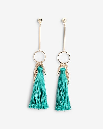 Express View Linear Leaf Charm Tassel Earrings