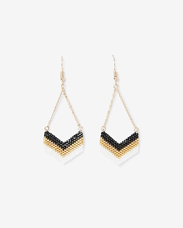 Express View Beaded Chevron Drop Earrings
