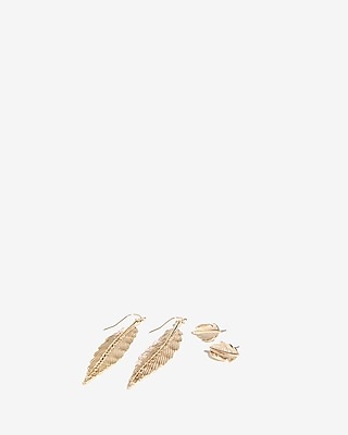 Set Of Two Metal Leaves Earrings by Express
