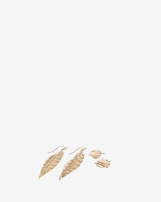 Set Of Two Metal Leaves Earrings by Express