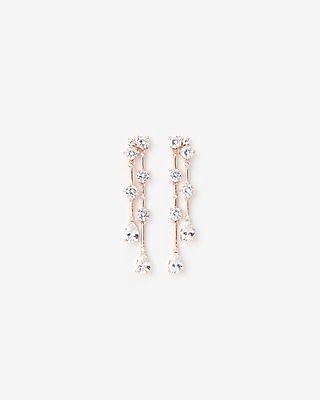 Cubic Zirconia Mixed Stone Linear Drop Earrings by Express