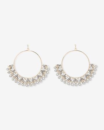 934585c06 Express View · pattern beaded circle drop earrings