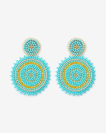 Express View · sparkle seed bead circle drop earrings