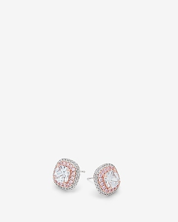 Cubic Zirconia Two Tone Double Pave Earrings by Express