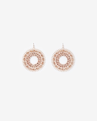 Beaded Filigree Circle Drop Earrings by Express