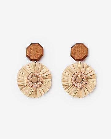 8c725be00474 Express View · wood   raffia post back earrings