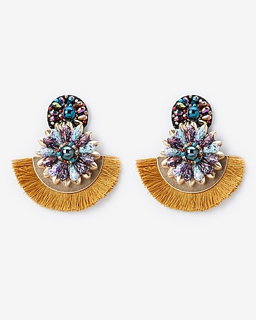 b7174878f Express View · beaded floral fringe statement earrings