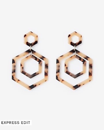 12f5c0354 Express View · resin hexagon post back drop earrings
