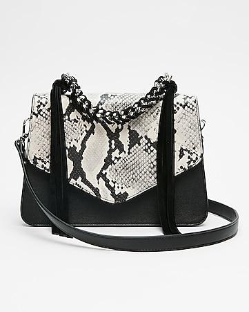 Express View Chain Handle Snake Print Bag