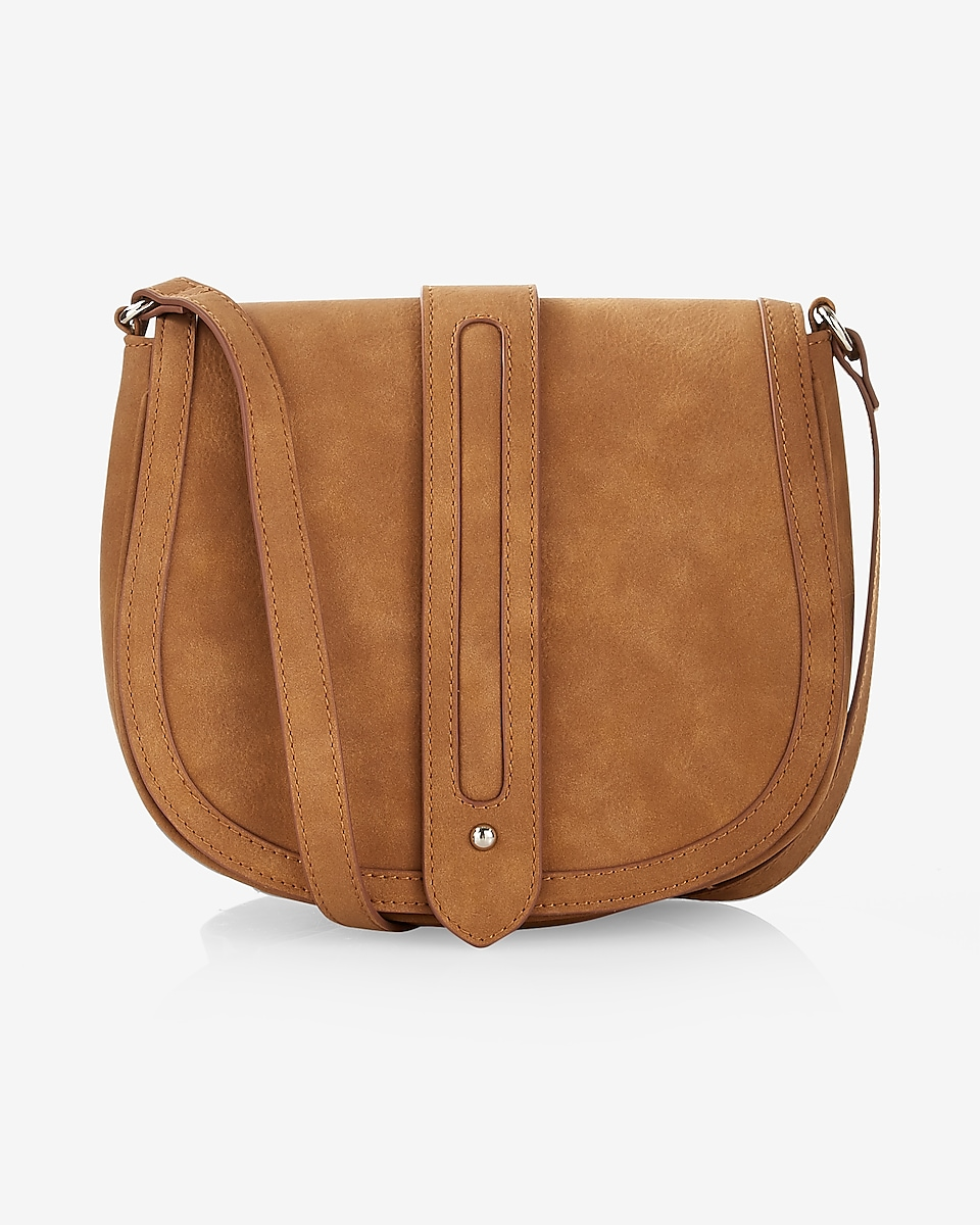 Express View Faux Suede Trapunto Sch Crossbody Saddle Bag