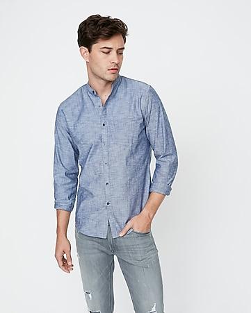 0f60e6c95b8ee5 Slim Band Collar Button Front Shirt | Express