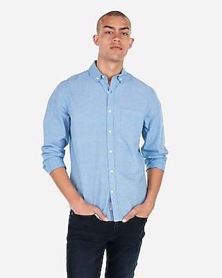 Slim End On End Button Down Soft Wash Shirt by Express