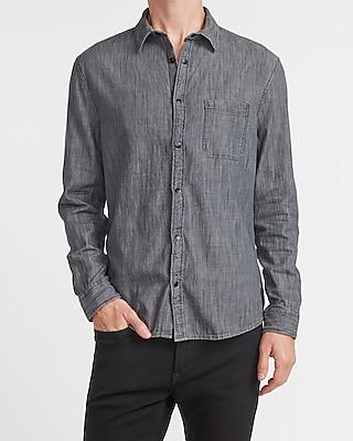 express slim black denim shirt black