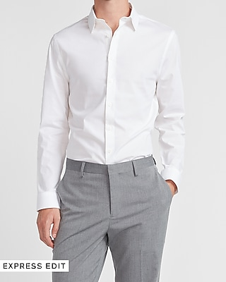 express extra slim solid stretch cotton 1mx dress shirt white