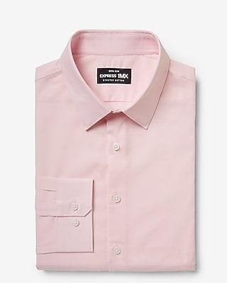 express extra slim solid stretch cotton 1mx dress shirt pink