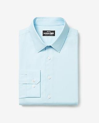 express extra slim solid stretch cotton 1mx dress shirt blue
