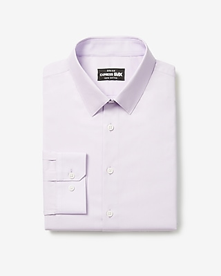 express extra slim solid stretch cotton 1mx dress shirt purple