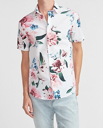 X-Future Mens Long Sleeve Floral Print Formal Casual Relaxed Fit Dress Work Shirt