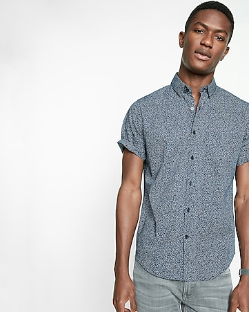 fitted micro print short sleeve cotton shirt