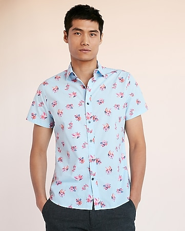2ab23db6 Slim Pineapple Short Sleeve Shirt | Express