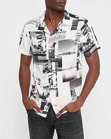New Mens ID Slim Fit Short Sleeve Button Up Black Shirt Brown Blue Leaf Pocket