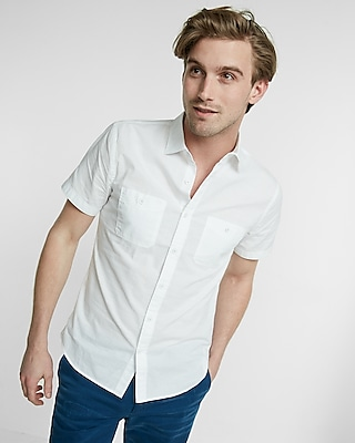Slub Chambray Short Sleeve Shirt | Express