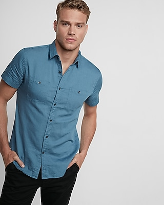 Short Sleeve Chambray Shirt Mens
