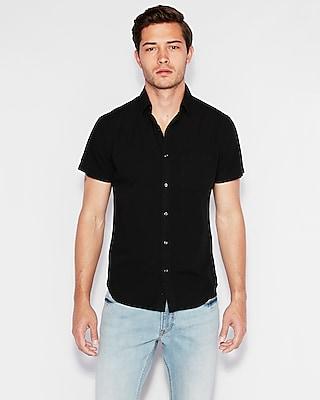Slim Garment Dyed Button Down Short Sleeve Shirt by Express