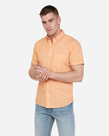 e6634e1934ba Express View · slim garment dyed button-down short sleeve shirt