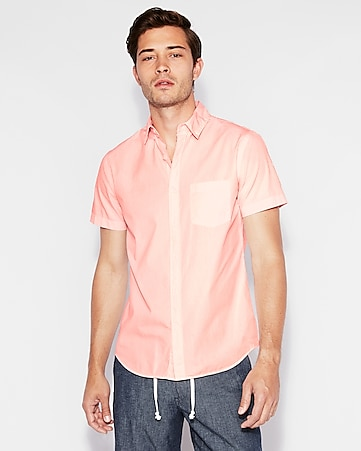 ab0e4eb93625 Classic Garment Dyed Button-down Short Sleeve Shirt | Express