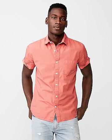Express View · slim garment dyed button-down short sleeve shirt 7392daeda