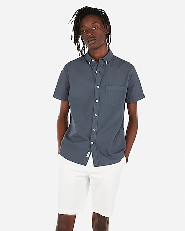 51422707618 Express View · slim garment dyed button-down short sleeve shirt