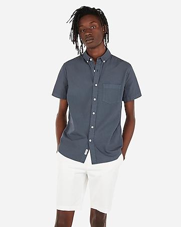 e5487288a04 Express View · slim garment dyed button-down short sleeve shirt