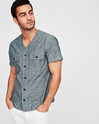 Slim V Neck Short Sleeve Chambray Shirt by Express