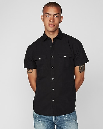 d783ac8ff68a2 slim garment dyed short sleeve shirt