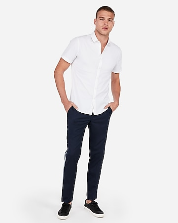 93c52ebd1cd3 Express View · slim wrinkle-resistant button-down short sleeve performance  shirt
