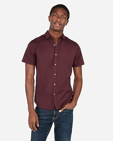 56a14cf8 Express View · slim wrinkle-resistant button-down short sleeve performance  shirt