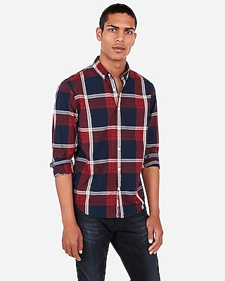 Deals on Express Mens Classic Plaid Pattern Soft Wash Button-Down Shirt