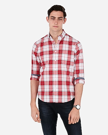 Slim Plaid Button Down Soft Wash Shirt by Express