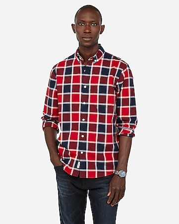 0292de6b8f3 Express View · slim plaid soft wash button-down shirt