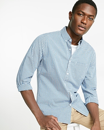 soft wash check cotton button collar shirt