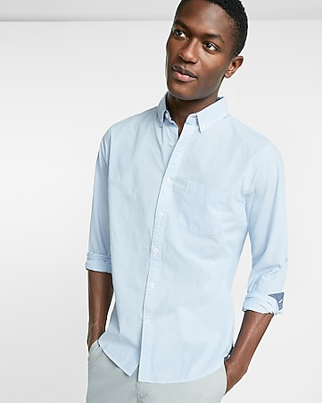 soft wash pinstripe button collar cotton shirt