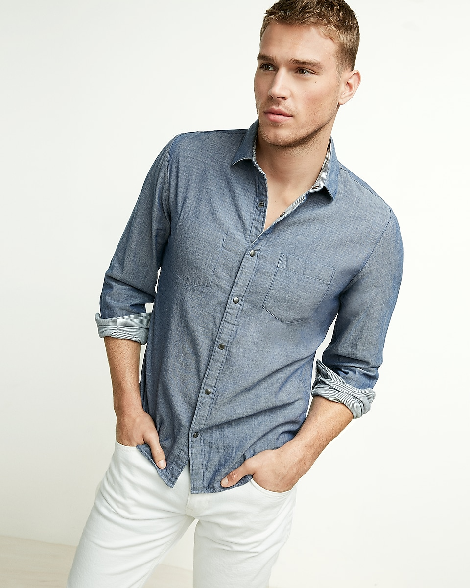 Reversible Solid And Stripe Button Up Shirt Express