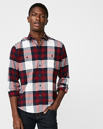 e3930062f9a9 Plaid Flannel Stretch Shirt