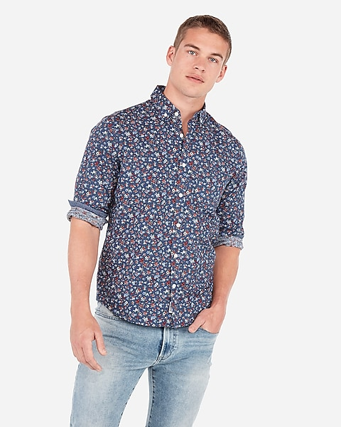 09a66825 Classic Floral Button-down Soft Wash Shirt | Express