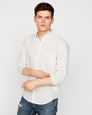 Slim Soft Wash Striped Button Collar Shirt by Express