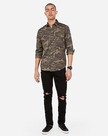 acb2b28b Camo Large Pocket Silky Soft Twill Boyfriend Shirt | Express