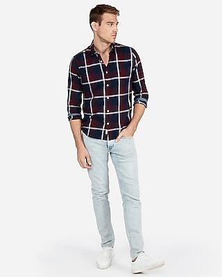 slim large plaid soft wash button-down shirt